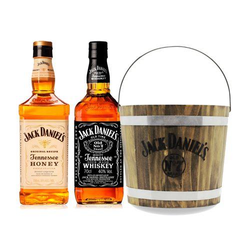 Kit Destilado - Jack Daniel's 1L + Jack Daniel's Honey + Balde de Madeira