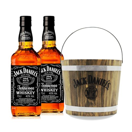 Kit Destilado - 2 Jack Daniel's 1L + Balde de Madeira