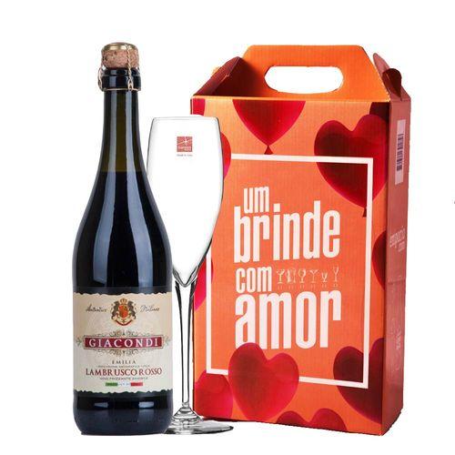 Kit Vinho - Frisante Lambrusco + Taça Champagne + Caixa de Presente
