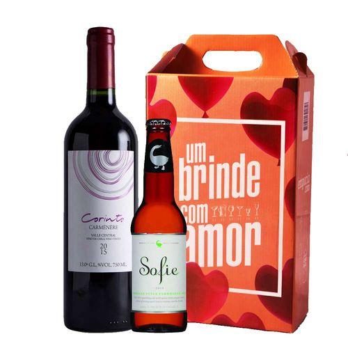 Kit Vinho - Chileno + Cerveja Artesanal Sofie + Caixa de Presente