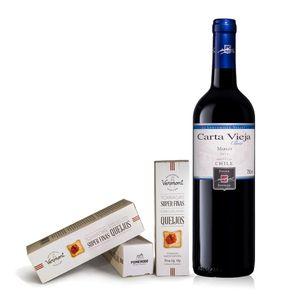 kit-gourmet-vinho-tinto-chileno-cartavieja-merlot-torrada-vermont
