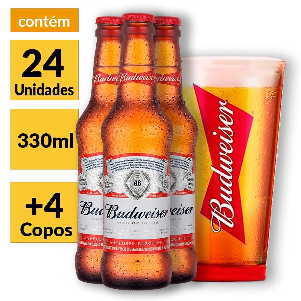 e9489e1ecadee Kit Budweiser  Caixa 24 unidades 330ml + 4 Copos Oficiais - Empório ...