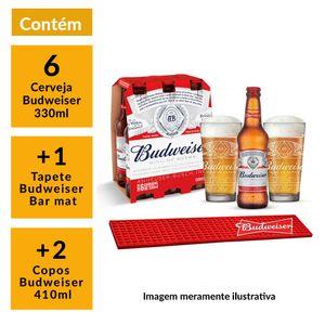 Kit-Budweiser-2-Copos-410ml---1-Barmat---6-Cervejas-330ml